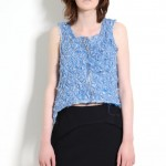Layered, Quilted, Chiffon Vest and wool crepe raw edge skirt