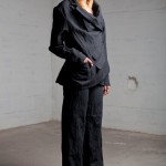 Wool/ Metallic oversized suit jacket and wide leg trousers