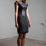 Li-Ann wears 'Mari' Marino wool and leather dress AW12
