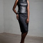 Leather Corseted top and 'backward detail' wool skirt AW12