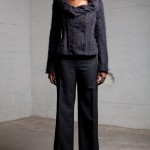Corseted jacket with mohair knit overlay and wool high waist trousers AW12