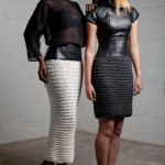 Patricia and Li-Ann in the A/W 12 collection, silk, leather and marino wool with hidden corsetry in both looks