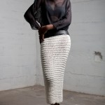 Marino hand knit and steel boned leather panel skirt with silk chiffon top