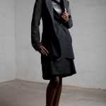 Wool and Mohair blend coat with silk lining worn with Mari leather & wool dress