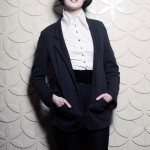 Siv cotton jacket, Carol shirt and Avery bonded wool and patent leather trouser